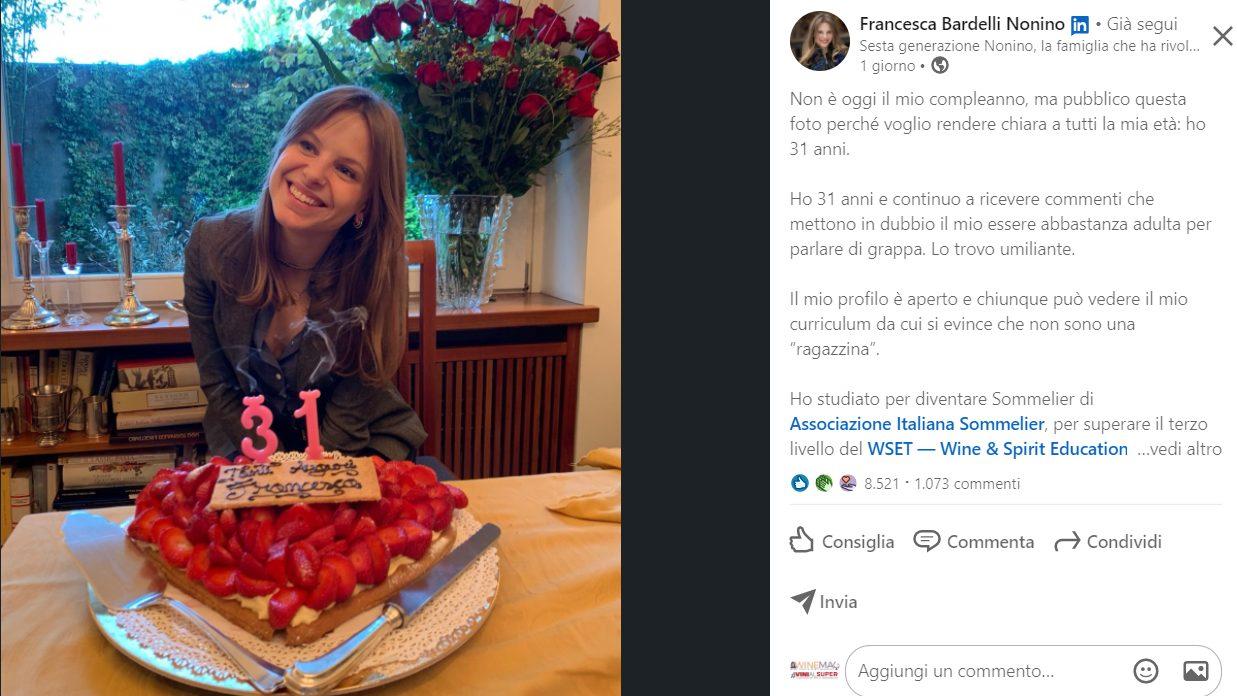 Lo sfogo di Francesca Bardelli Nonino: «Ho 31 anni e sono abbastanza adulta per parlare di grappa»
